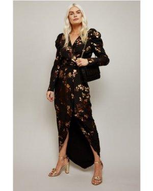Little Mistress Fifi Gold Foil Tie-Waist Maxi Dress size: 10 UK, colou