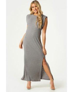 Little Mistress Vivi Grey Padded Shoulder Midi Dress size: 12 UK, colo