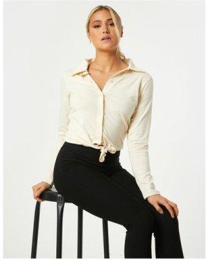 Little Mistress Amaury Sand Tie-Front Shirt size: 10 UK, colour: Sand