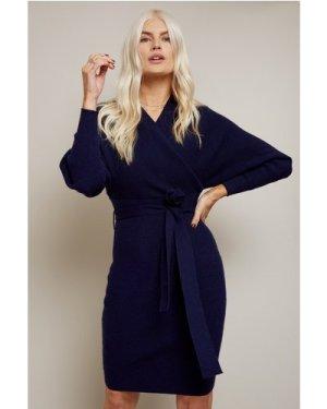 Little Mistress Rens Navy Mock Wrap Knit Dress size: 12 UK, colour: Na