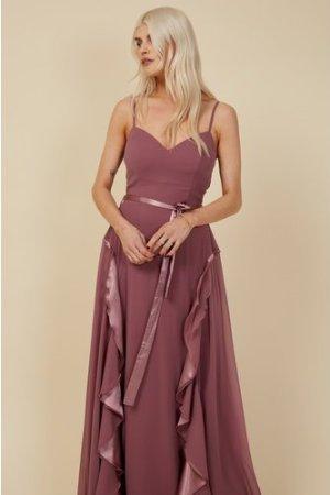 Little Mistress Bridesmaid Mariah Mauve Draped Frill Maxi Dress size: