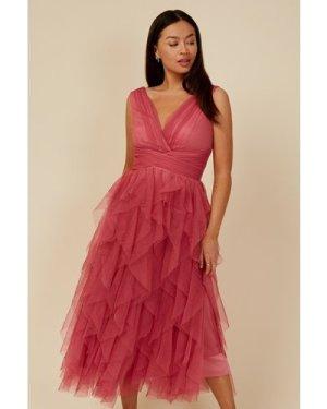 Little Mistress Bridesmaid Leonora Rose Pink Ruffle Mesh Midi Dress si