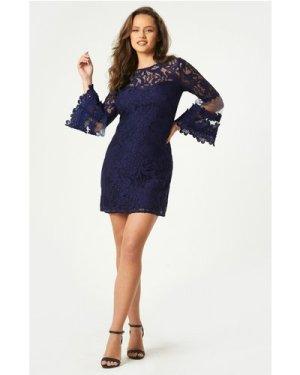 Little Mistress Rafaela Navy Lace Fluted Sleeve Shift Dress size: 6 UK