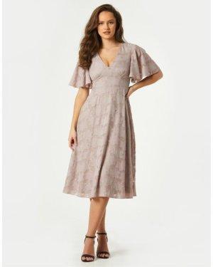 Little Mistress Fara Mink Textured Floral Midi Tea Dress size: 10 UK,