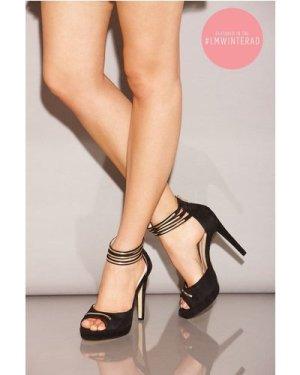 Little Mistress Black Double Ankle Strap Peep Toe Heels size: Footwear