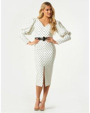 Little Mistress Kasidy Cream Spot Belted Bodycon Midi Dress size: 16 U