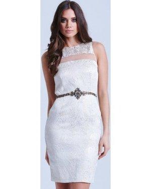 Little Mistress Metallic Jacquard Mesh Insert Dress size: 10 UK, colou