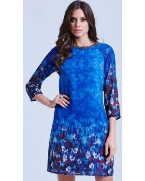 Little Mistress Blue Water Paint Floral Tunic Dress size: 12 UK, colou