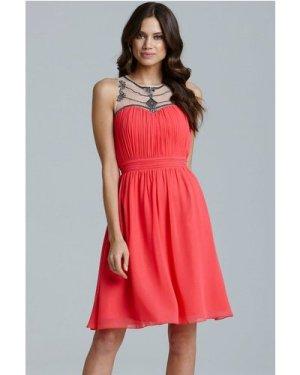Little Mistress Coral Embellished Mesh Detail Dress size: 12 UK, colou
