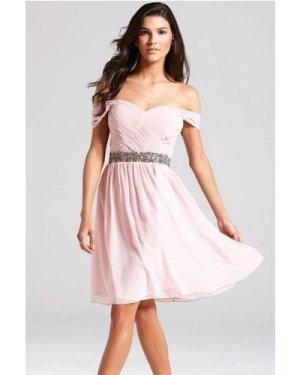 Little Mistress Nude Off the Shoulder Embellished Dress size: 8 UK, co