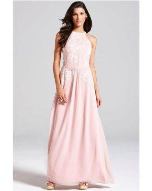 Little Mistress Rose Pink Floral Embroidered Maxi Dress size: 16 UK, c