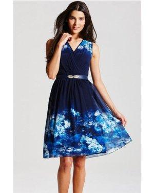 Little Mistress Blue Floral Crossover Dress size: 14 UK, colour: Print