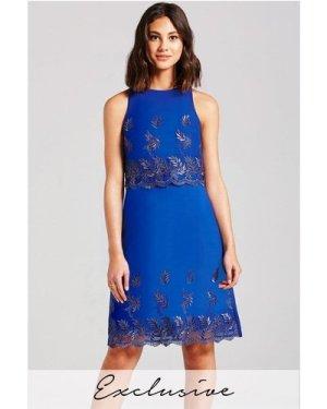 Little Mistress Blue Floral Overlay Dress size: 14 UK, colour: Blue