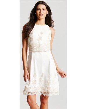 Little Mistress Cream Metallic Floral 2 in 1 Dress size: 8 UK, colour: