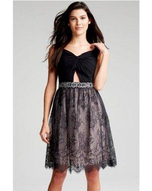 Little Mistress Black Lace Cut Out Dress size: 16 UK, colour: Black /