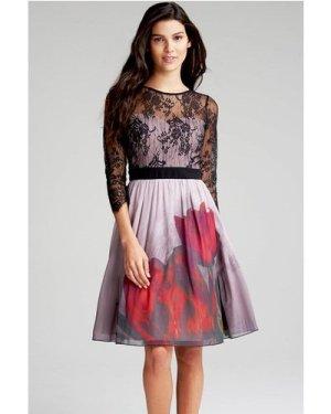 Little Mistress Lace and Print Dress size: 8 UK, colour: Mink