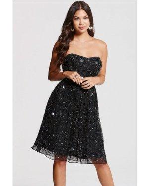 Little Mistress Black Bandeau Embellished Prom Dress size: 6 UK, colou
