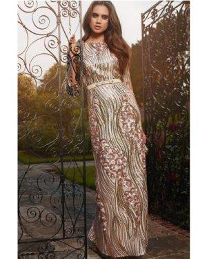 Little Mistress Gold and Mink Heavily Embellished Maxi Dress size: 8 U