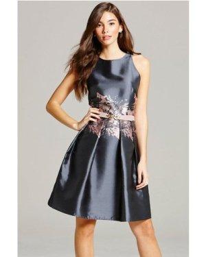 Little Mistress Grey Jacquard Print Fit and Flare Dress size: 6 UK, co