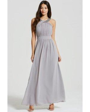 Little Mistress Grey Embellished Chiffon Maxi Dress size: 12 UK, colou