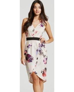 Little Mistress Petal Print Plunge Midi Dress size: 16 UK, colour: Pri