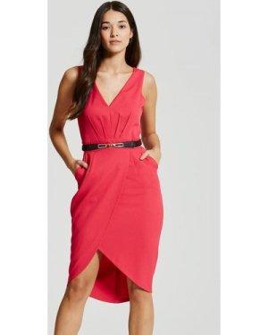 Little Mistress Pink Plunge Midi Dress size: 16 UK, colour: Pink
