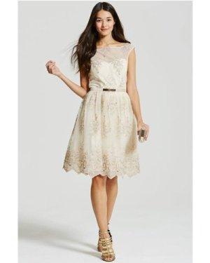 Little Mistress Beige & Gold Embroidery Prom Dress size: 10 UK, co