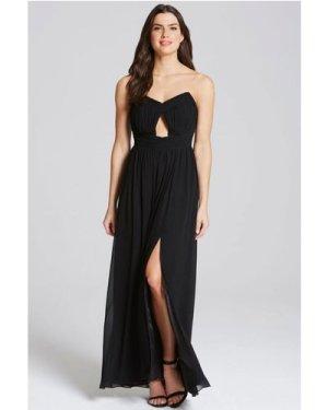 Little Mistress Black Cut Out Bandeau Maxi Dress size: 12 UK, colour: