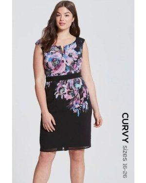 Little Mistress Floral Placement Bodycon Dress size: 20 UK, colour: Fl