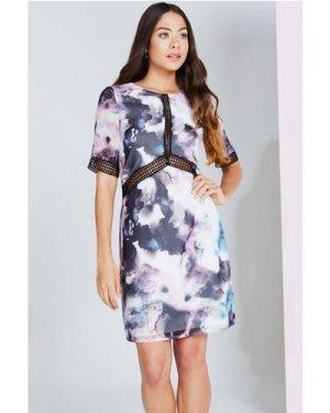 Little Mistress Oil Print Shift Dress With Lace Trim size: 10 UK, colo