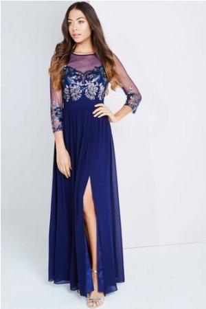 Little Mistress Navy Embellished Sheer Maxi Dress size: 12 UK, colour:
