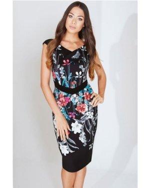 Little Mistress Bouquet Print Bodycon Dress size: 8 UK, colour: Print