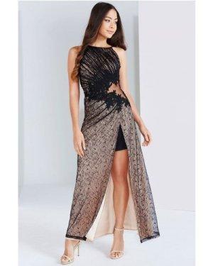 Little Mistress Black And Beige Lace Applique Maxi Dress size: 8 UK, c