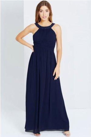 Little Mistress  Navy Embellished Empire Maxi dress size: 6 UK, colour