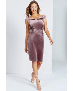 Little Mistress Mink Velvet Off The Shoulder Dress size: 10 UK, colour