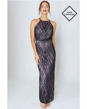 Little Mistress Black And Mink Sequin Maxi Dress size: 16 UK, colour: