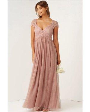 Little Mistress Rose Lace Empire Maxi Dress size: 16 UK, colour: Rose