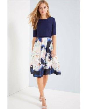 Little Mistress Floral Blur Print 2 In 1 Dress size: 16 UK, colour: Pr