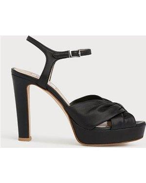 Nille Black Leather Platform Sandals, Black