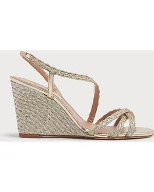 Shiela Gold Rope Wedge Sandals, Soft Gold