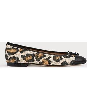 Kara Leopard Print Toe Cap Ballerina Pumps, Leopard Print