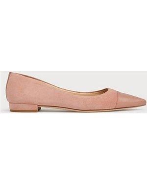Perth Pink Suede Toe Cap Flats, Clay