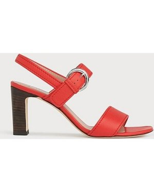 Natalie Red Leather Sandals, Red