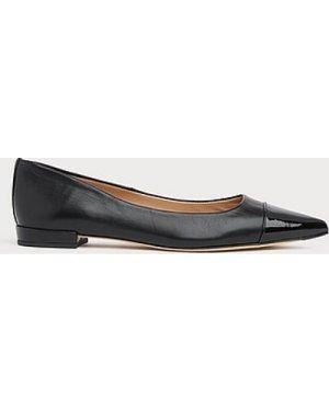 Perth Black Leather Toe Cap Flats, Black