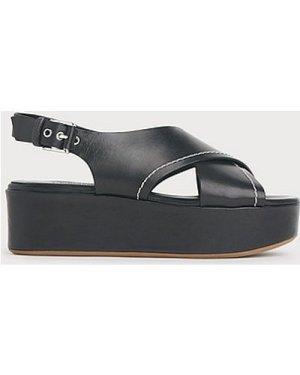 Sima Black Leather Flatform Slingbacks, Black