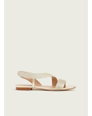 Rachel Gold Lurex Rope Flat Sandals, Soft Gold