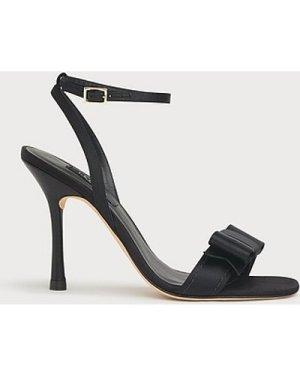 Nancy Black Satin Sandals, Black