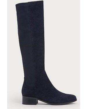 Bella Navy Suede & Elastic Knee Boots, Navy