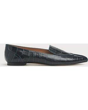 Princeton Teal Croc-effect Leather Flats, Teal