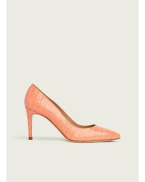 Floret Apricot Croc-Effect Leather Courts, Apricot